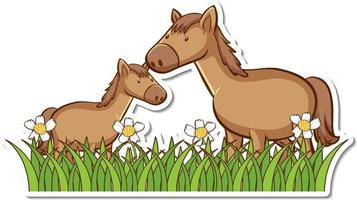 Two horses in grass field with many flowers sticker vector