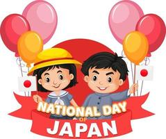 National Day of Japan banner with Japanese children cartoon character vector