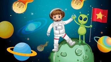 Astronaut girl with an alien standing on asteroid in space scene vector