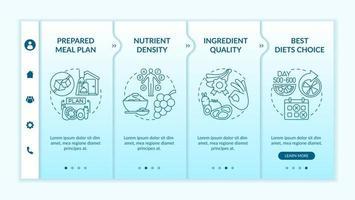 Meal preparing for diabetics onboarding vector template