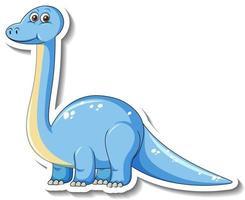 Sticker template with cute brachiosaurus dinosaur cartoon character vector