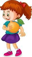 A girl holding an orange fruit cartoon character isolated vector