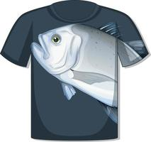 Front of t-shirt with fish template vector