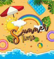 Tropical beach scene with Summer Time text banner vector