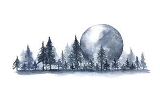 Fog forest landscape, Full moon. Watercolor illustration. vector