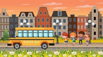 escena de fondo de la ciudad con niños yendo al autobús escolar vector
