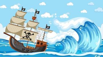 escena del océano durante el día con barco pirata en estilo de dibujos animados vector