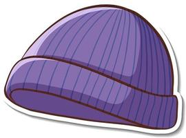 Sticker design with purple beanie hat isolated vector