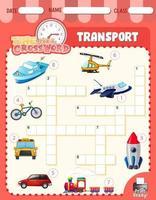 Plantilla de juego de crucigramas sobre transporte vector
