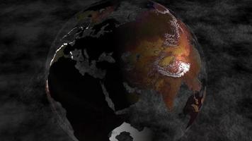 een aardbol draait voor een donkergrijze achtergrond - loop video