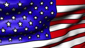 una bandera americana gráfica ondea en la brisa - lazo video