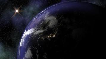 de planeet aarde in de ruimte als de nacht valt over Azië en Europa en de stadslichten gaan aan. video