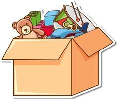 A box full of kid toys in sticker style vector