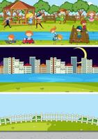 Set of different scenes background with doodle kids cartoon character vector