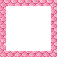 Blank pastel pink fish scales frame template vector