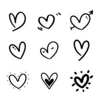 Set of nine doodle heart with hand drawn style vector