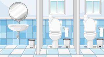 cubículos de baños públicos con lavabo y espejo vector