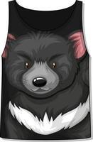 parte delantera de la camiseta sin mangas con estampado de oso negro vector