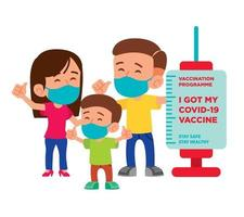 Vaccinated Parent and kid with covid vaccination campaign signboard vector