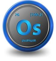 Osmium Chemical symbol with atomic number and atomic mass vector