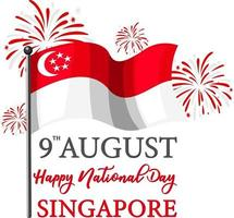Singapore National Day banner with Singapore flag vector
