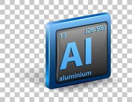 símbolo químico de aluminio aislado vector