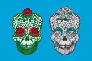 Mexican skulls symbols day of dead set vector