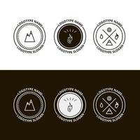 Set of outdoor adventure, expedition, tourism logo vector