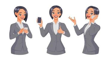 Woman texting calling showing thumb up with smartphone vector set
