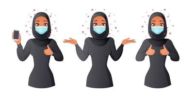 Muslim woman in mask showing smartphone thumbs up and shrugging vector