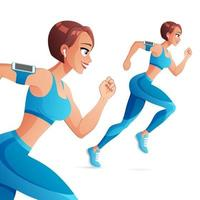 Athletic woman running with earphones vector illustration