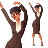 Happy businesswoman dancing vector illustration