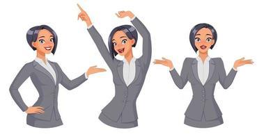 Pretty businesswoman showing dancing shrugging vector set