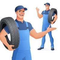 Auto mechanic car service man holding tire vector illustration