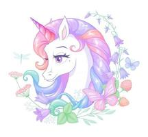Hermoso unicornio rodeado de flores ilustración vectorial vector
