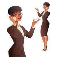 Smiling businesswoman talking on phone vector illustration