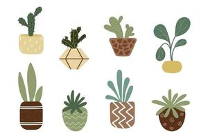 Homemade flowers in pots. Set of decorative flowers. vector