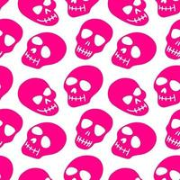 seamless pattern with pink skulls vector