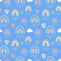 seamless pattern with rainbows and clouds with raindrops vector