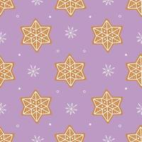 Seamless pattern of gingerbread cookies and small white snowflakes vector