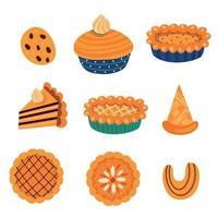 autumn sweets set. vector illustration