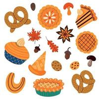 set of of various types of autumnal sweet with leaves and mushrooms vector