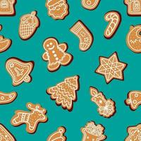 Seamless pattern of traditional gingerbread cookies of various shapes vector