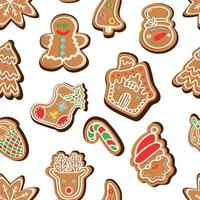 pattern of traditional gingerbread cookies of various shapes vector