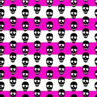 seamless pattern with black skulls on a white-pink striped background vector