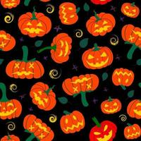 seamless pattern with creepy pumpkins on a black background vector
