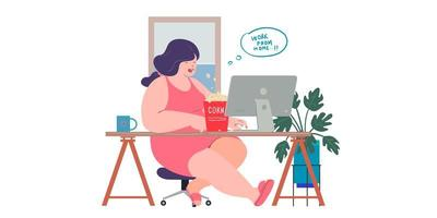 a women working at home preventing from corona virus vector