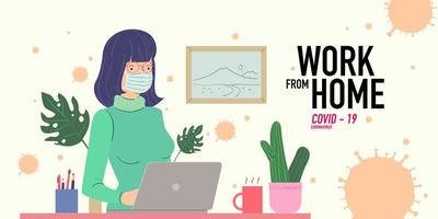 women working at home preventing from corona virus vector