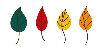 set of bright autumn leaves. Fallen leaves vector