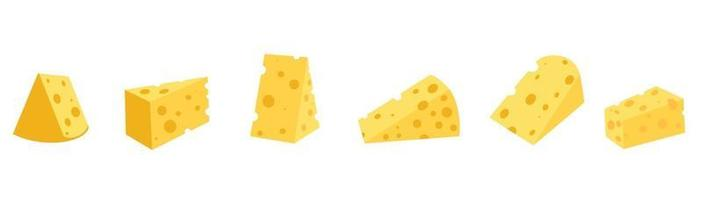 Set of cheese of different shapes vector